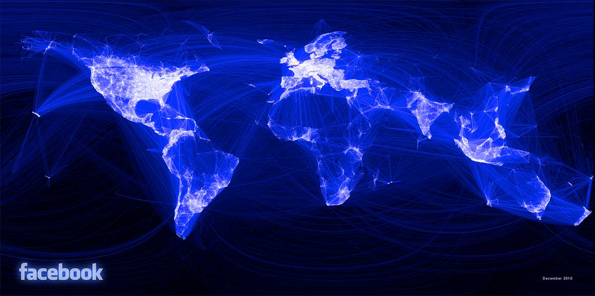 Visualization of Facebook Connections Worldwide